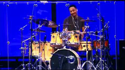 Image of Christopher Coble using Moongel Damper Pads on his drum kit